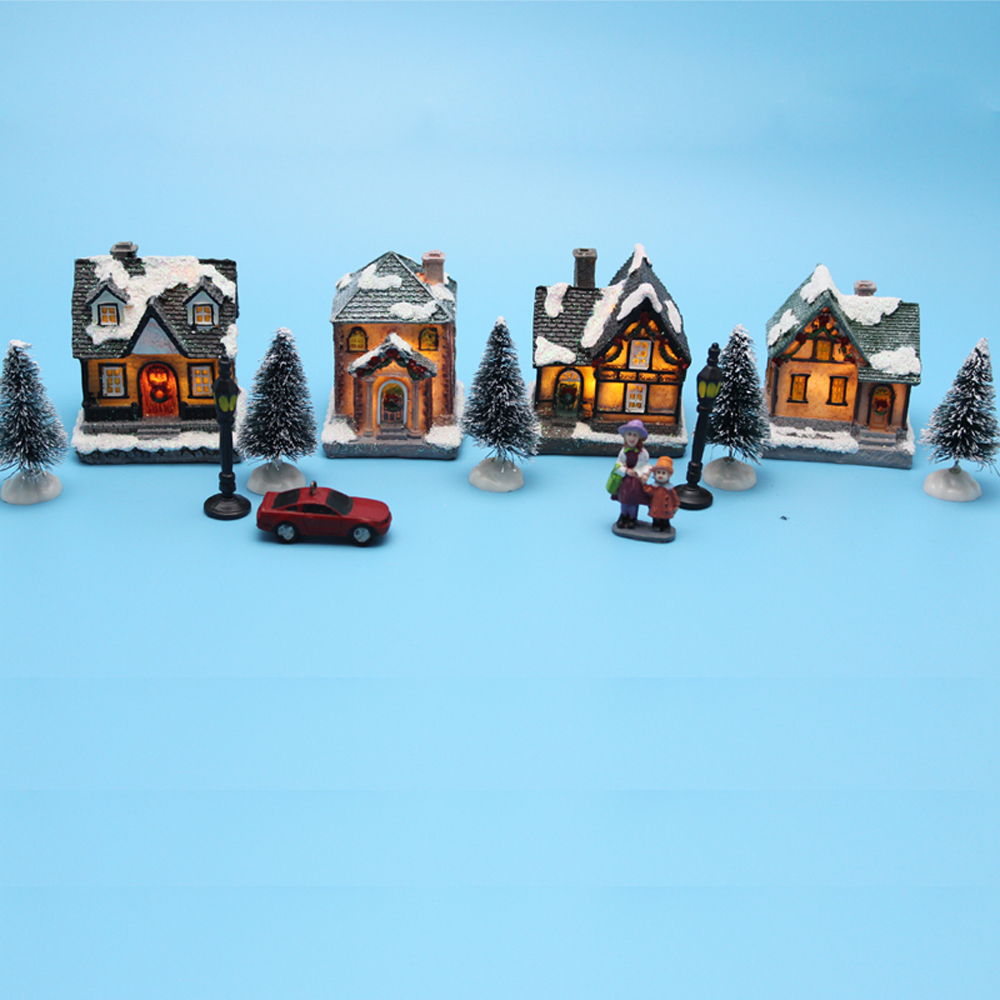 Lighting Up DIY Christmas Doll Figurine Artificial Tree Tiny Resin House Village (House Village Building Set Of 4)
