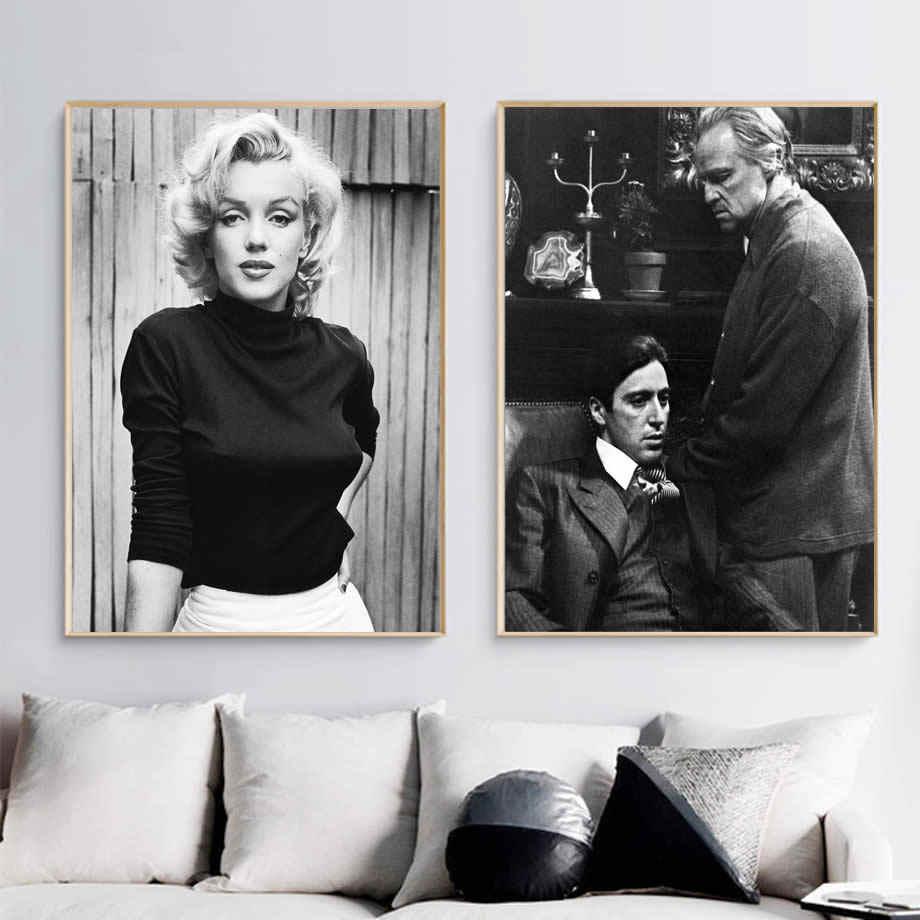 مارلين مونرو الرسم على لوحات القماش الجدارية أسود أبيض الملصقات والمطبوعات العراب علي جدار صور لغرفة المعيشة ديكور المنزل