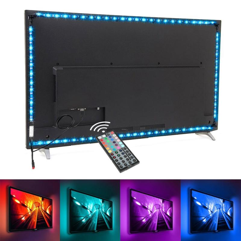 Dropship <font><b>LED</b></font> Strip RGB Multicolor <font><b>5050</b></font> TV Backlight PC Background Lighting Kit With 44Key IR Controller Home Theater Decoration image