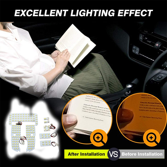 for Toyota Prius 30 XW30 ZVW30 V α 2010~2015 Night Interior Lamps Dome Roof lights LED 4x4 Trunk Reading Lamp White Canbus Bulbs 4