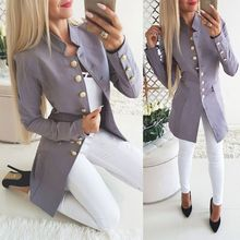 Women's Button Open Front Suit Military Blazer Ladies Office