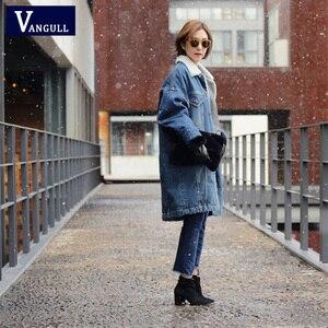 Image 3 - Vangull futro ciepła zimowa kurtka dżinsowa kobiet 2019 nowych moda jesień wełniana podszewka dżinsy płaszcz kobiety kurtki pilotki Casaco Feminino