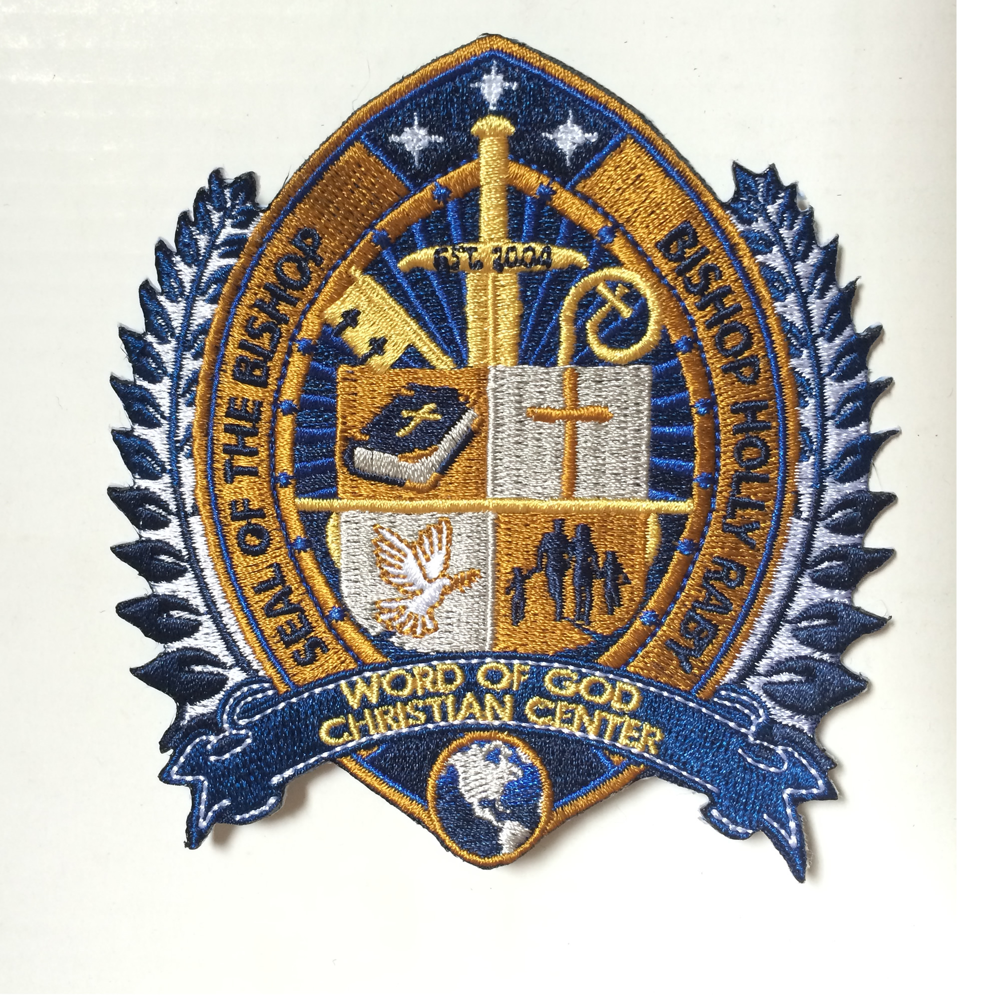 Seal Of Bishop Embroidery Patches 100% Embroidered Garment Badge Heat Cut Iron-on Backing As Customized Design Free Shipping