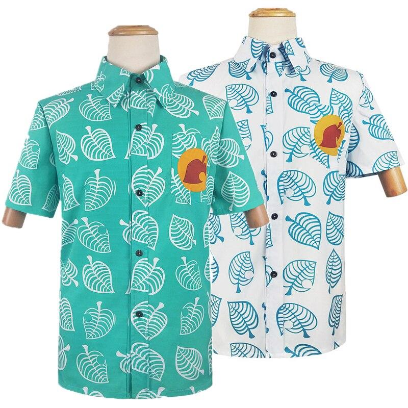 Hot Animal Crossing Shirt Tom Nook Cosplay Costume Men T Shirt Tees Leaf Print Animal T-shirt Short Sleeve Tops Kids Adult Women