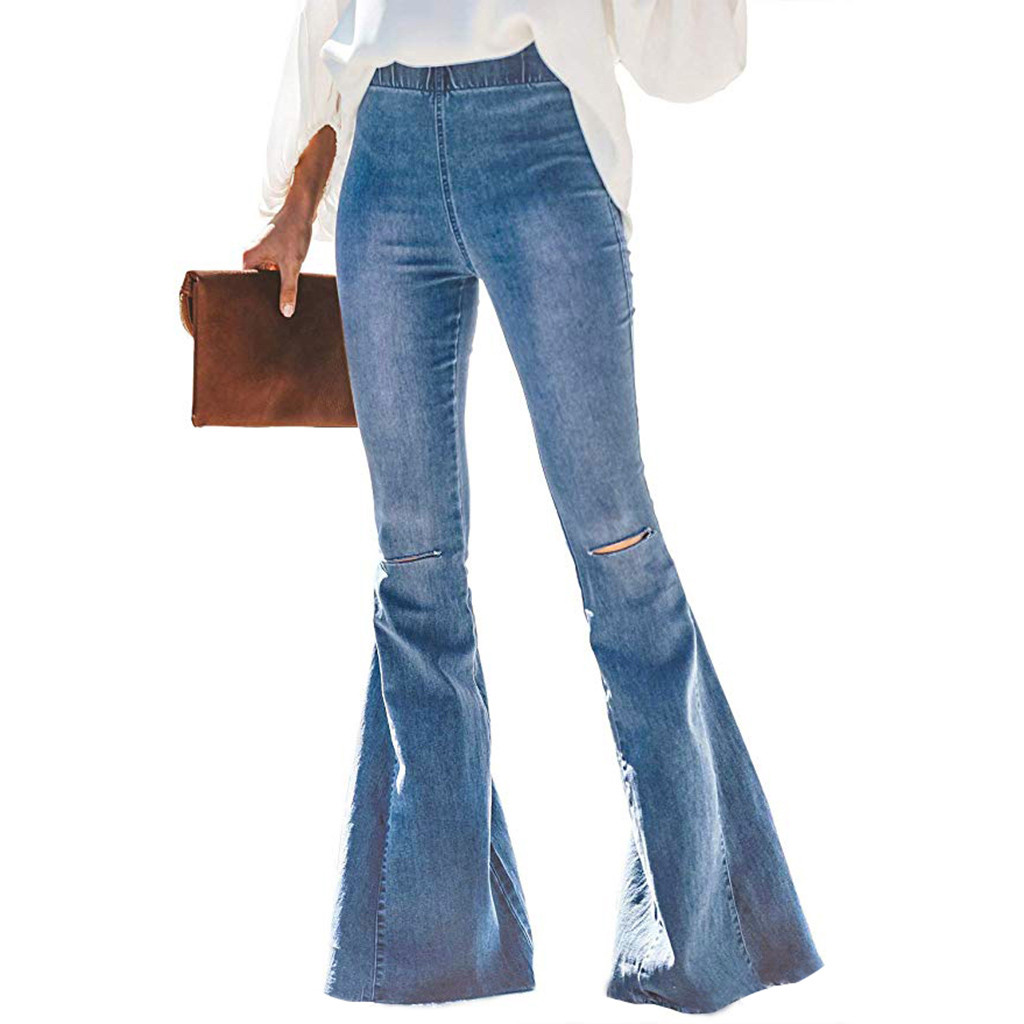 Big Flare Jeans Pants Women Wide Leg Denim Bellbottoms High Waist Elegant Lady Party Capris Long Trousers Slim Fit Bottoms Sexy