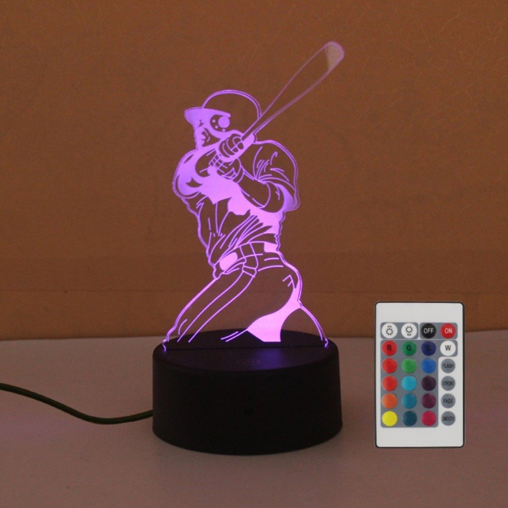 Play Baseball Touch Table Lamp 7 Colors Changing Desk Lamp 3D Lamp LED Night Light Stereoscopic Illumination