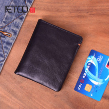 AETOO Handmade mens leather short wallet, ultra-thin head vertical soft trend wallet