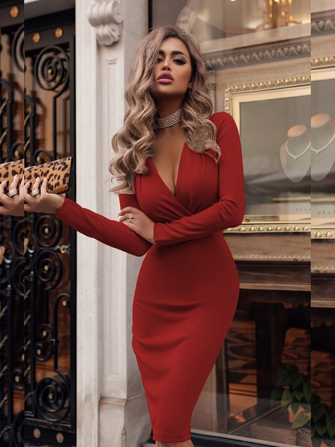 Women's Dress Autumn Winter Casual Solid Color Long Sleeve Elegant Office Lady Dress Sexy Deep V-Neck Bodycon Pencil Party Dress 2