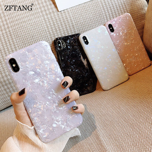 Glossy Marble Case For Samsung Galaxy Note 20 10 Plus S8 S9 S10 S20 Plus S7 Edge S20 Ultra Bling Conch Shell Silicone Soft Case