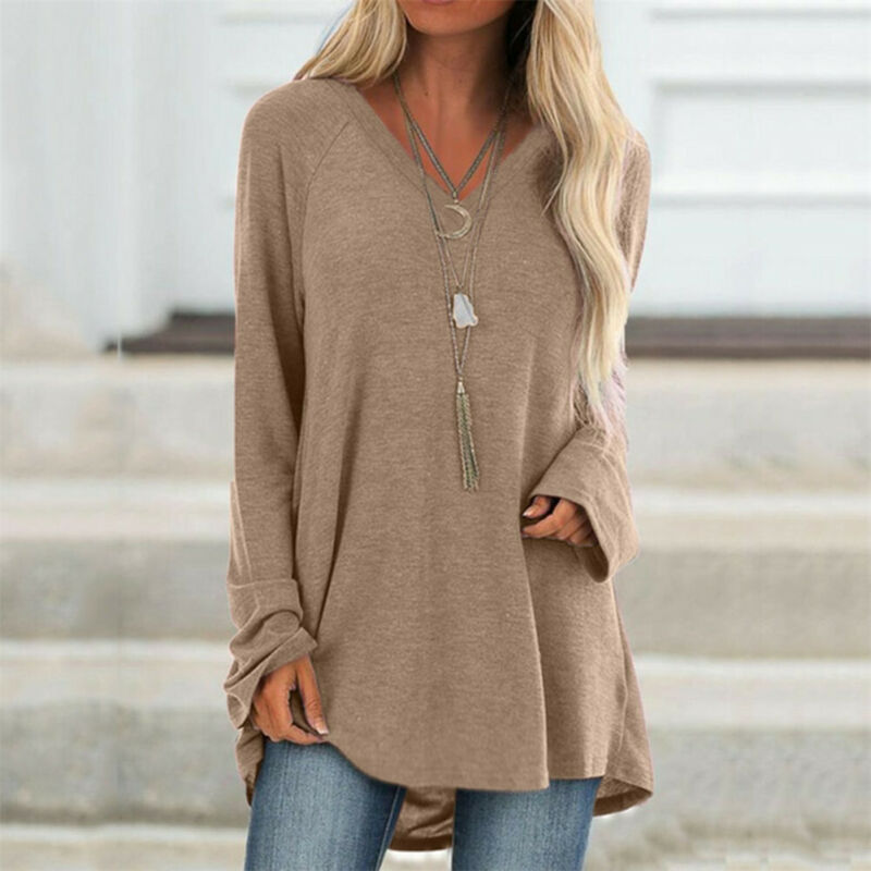 Women Long Sleeve V Neck Loose Blouse Solid Pullover Jumper Spring Casual Tops Shirt