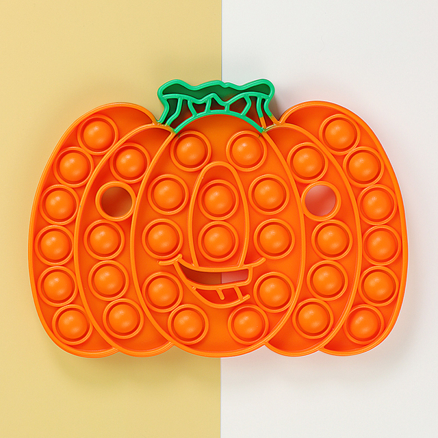 Halloween Gift Rainbow Pumpkin Food Fidget Toy Push Bubble Stress Sensory Toy 1