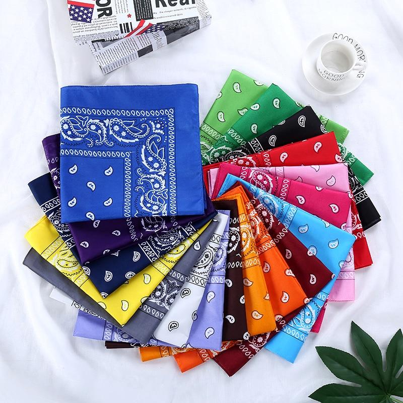 Bandana Kerchief Unisex Hip Hop Black Paisley Neck Scarf Sports Headwear Wrist Wraps Head Square Scarves Print Handkerchief