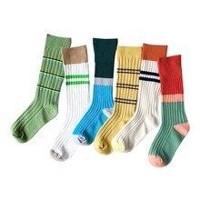 Детские носки; сезон осень-зима; детские носки без пятки из чесаного хлопка с двумя иглами и цветными полосками