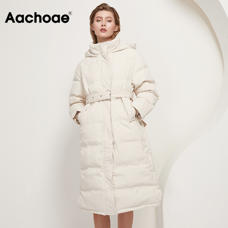 Aachoae Chic Women Solid Long Parka Coat With Belt 2020 Winter Thick Warm Hooded Parkas Long Sleeve Pockets Cotton padded Jacket|Parkas|   - AliExpress