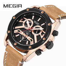 MEGIR Men Watch Top Luxury Brand Quartz Waterproof Retro Leather Strap Mens Watches Chronograph Wristwatch Relogio Masculino relogio masculino guanqin mens watches top brand luxury fashion chronograph date quartz watch men sport leather strap wristwatch