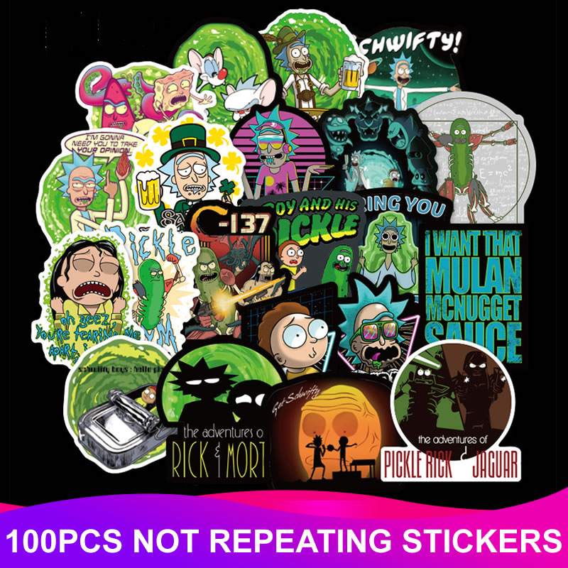 100pcs Pack PVC Waterproof Cartoon Rick And Morty Stickers Laptop Suitcase Motorcycle DIY Funny Sticker Kid