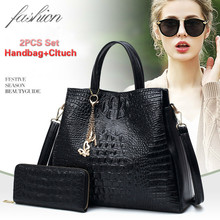 купить Women Bags 2 Set Luxury Handbags Pu Leather Fashion Designer Handbag Shoulder Bag Black Vintage Female Messenger Bag Sac A Main дешево