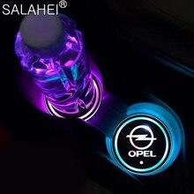 2X LED Auto Logo Tasse Halter Pads RGB Ändern USB Lade Untersetzer Für Opel Astra Vectra Insignia Antara Meriva Zafira für Auto