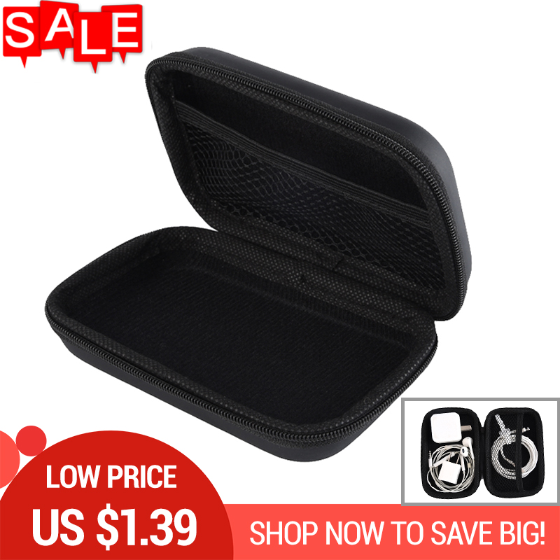 PU Earphone Wire Organizer Box Data Line Cables Storage Box Zipper Case Container Headphone Protective Box Earbuds Case