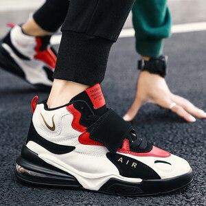 Image 4 - 남자 여자 쿠션 농구 신발 최대 크기 45 농구 스 니 커 즈 Anti skid 높은 상위 신발 남성 스웨이드 농구 부츠 2019