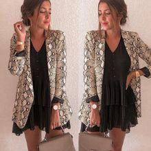 Fashion Autumn Women Blazers Coats Elegant Snakeskin Print Slim Blazer