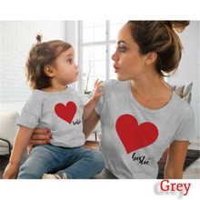 Summer Mum Daughter T-shirt Family Outfits Clothes Mother Ki