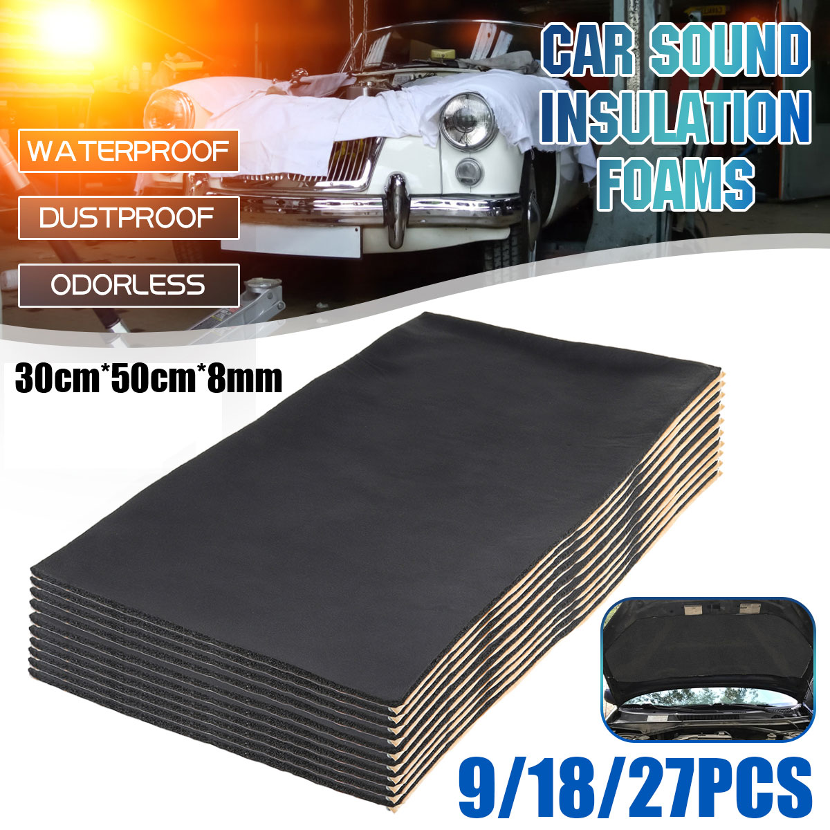 30x50cm 8mm Car Sound Proofing Mats Anti-noise Deadening Firewall Pad Engine Cover Sound Heat Insulation Cotton