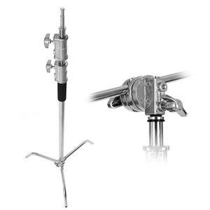 Image 3 - Metall 8,5 ft/260cm Einstellbare Reflektor Stand mit 3,5 ft/107cm Halten Arm und 2 Stück grip Kopf für Fotografie Studio licht