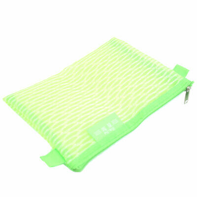 Office   Nylon Mesh Design Zipper Closure File Bag Document Holder Green
