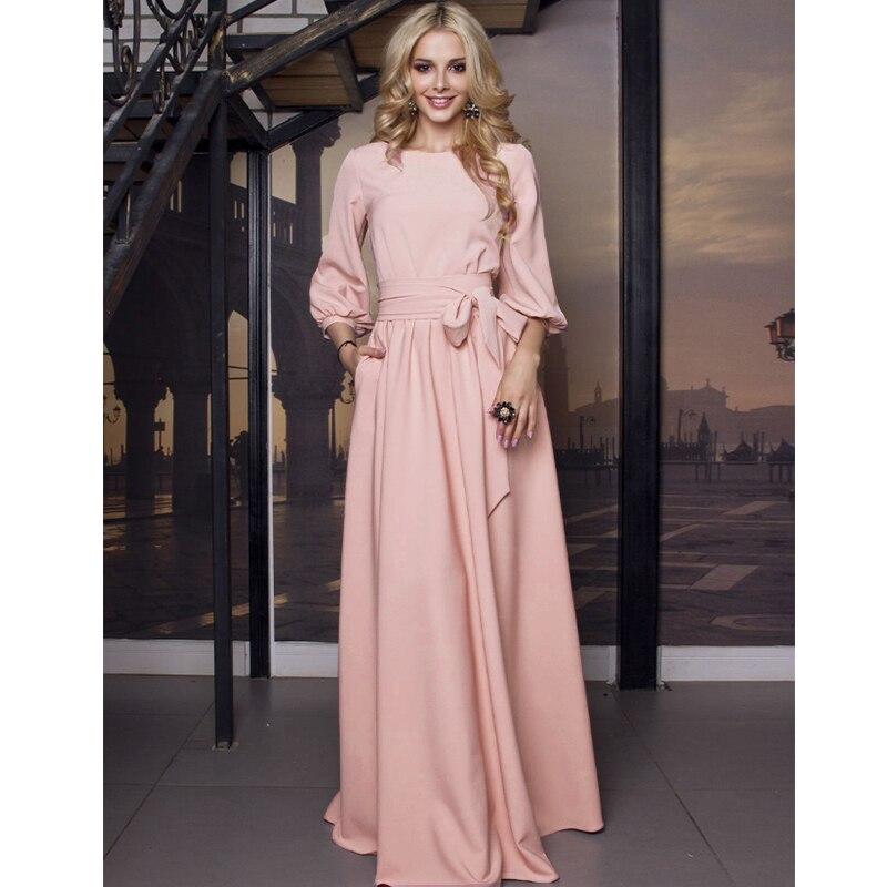 2019 vintage laço maxi longo vestido de festa das senhoras lanterna manga o pescoço sólido elegante vestido outono manga comprida vestido casual
