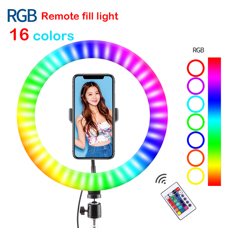 26cm USB RGBW 16 colors Dimmable LED Ring Light Youtube Vlogging Photography Video Lights Selfie  Phone Clamp   Remote Control