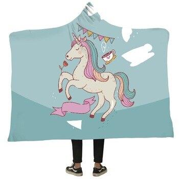 Winter Blanket Sweatshirt Unicorn Cartoon 3D Printed Plush Hooded Blanket for Adults Kid Warm Wearable Fleece Throw Blankets 5