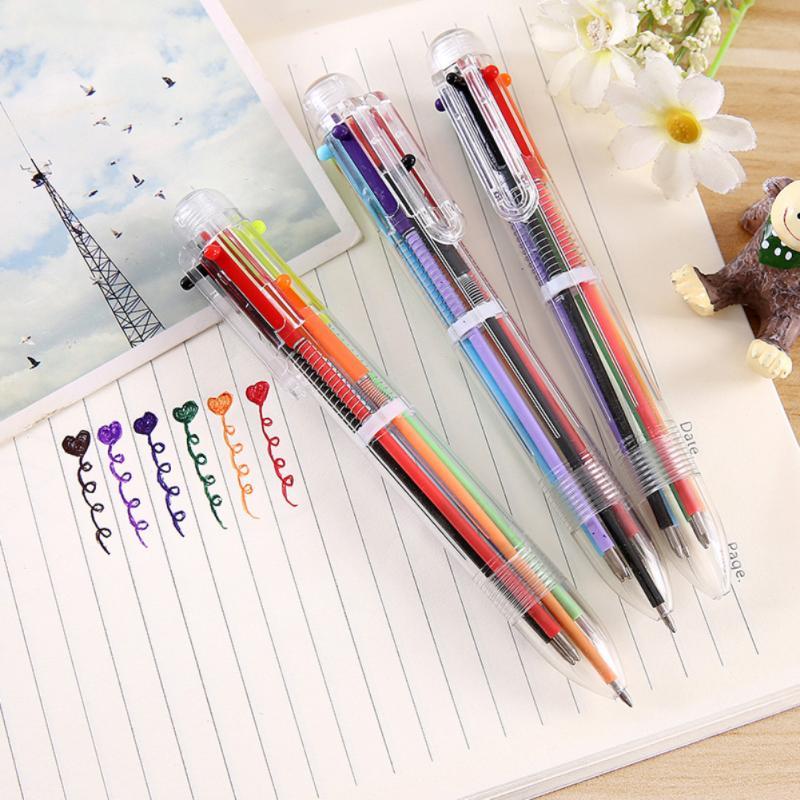 Разноцветная шариковая ручка 6 в 1, 0,7 мм, красная, зеленая, синяя, заправка, школьные и офисные принадлежности