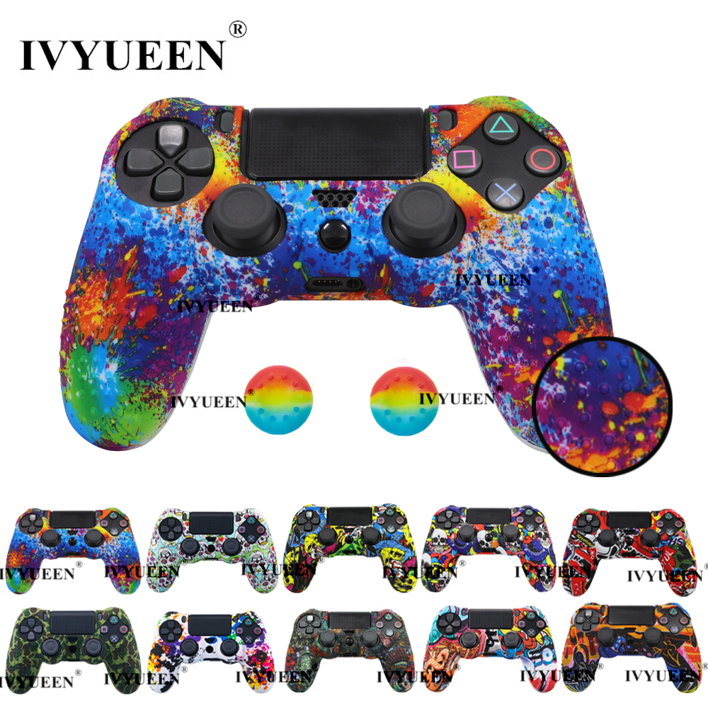 IVYUEEN Anti Slip Silicone Protective Skin Case For Sony Dualshock 4 PS4 DS4 Pro Slim Controller Cover Analog Thumb Grip Caps