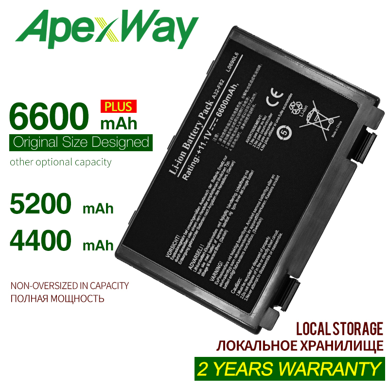 ApexWay 6 Cell Battery Pack For Asus A32-F82  L0690L6 70NLF1B2000Y 90NLF1B2000Y A41  F82Q  X5E  X5EA  X5J  X66  Pro5DAB Pro79I