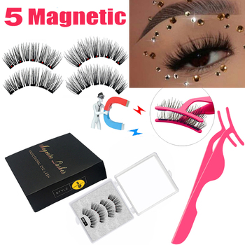LEKOFO New 5 Magnetic Eyelashes 3D Magnet Mink Lashes Thick faux cils magnetique Natural Handmade Eye Lashes free False Eyelashe недорого