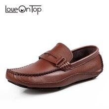Loveontop/лоферы; сезон весна-осень; модные кожаные дышащие мужские повседневные туфли для вождения ручной работы; однотонные мужские лоферы без шнуровки