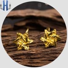 где купить 2019 Blessing Six-star Sun Vine 24K Pure Gold Earrings Earrings Earrings дешево