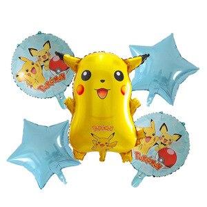 Вечерние воздушные шары Пикачу на день рождения с изображением покемона из мультфильма «Звезды», круглые шары для детей на день рождения, с...