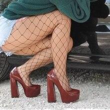 Onlymaker damskie platformy z okrągłym czubkiem 15CM ~ 16CM masywne szpilki na wysokim obcasie kostki sukienka na ramiączkach kopyto grube obcasy buty duże rozmiary