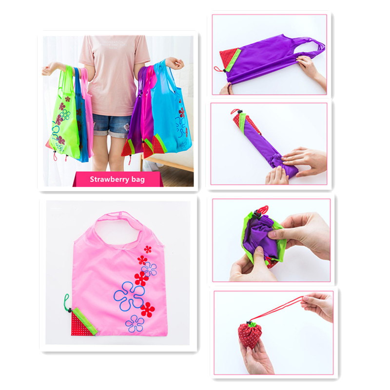 Vogvigo Creative Environmental Storage Bag Handbag Strawberry Foldable Shopping Bags Reusable Folding Grocery Nylon Eco Tote Bag