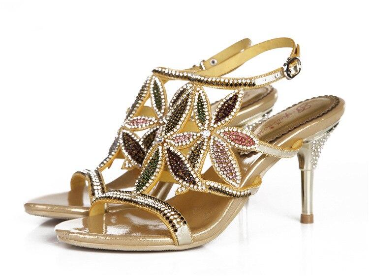 G-sparrow New Large Size Diamond Gold Crystal Wedding High Heeled Sandals Rhinestone Thick Heel Elegant Shoes10