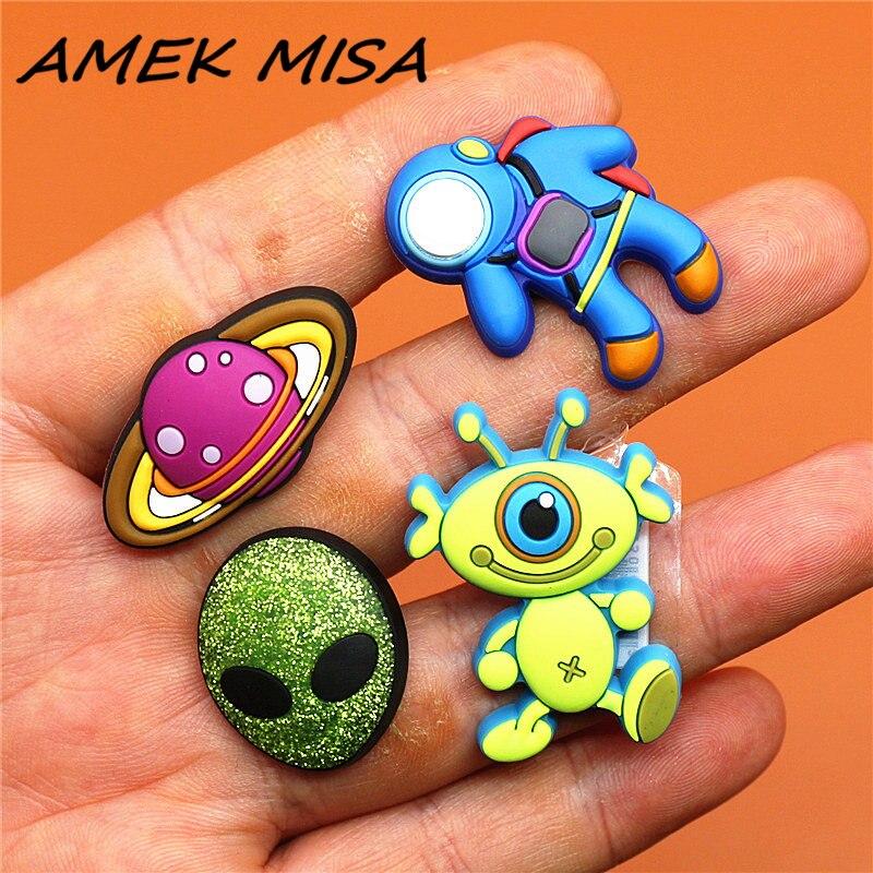 Novel Single Sale Alien Shoe Charms Accessories Cartoon Astronaut/Pluto Garden Shoe Decoration Fit Croc Jibz Kid's X-mas Gifts