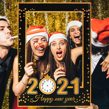2021 Happy New Year Paper Photo Booth Frame New Year Eve Party Decoration Photo Booth Props Christmas Decorations for Home Noel 10pcs diy photo frame wooden clip paper picture holder wall decoration for wedding baby shower birthday party photo booth props