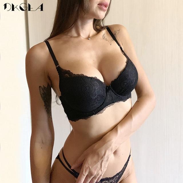 Super Gather Fashion Black Underwear Women Bra Set Push Up Brassiere Cotton Thick Deep V Sexy Bras Lace Lingerie Sets Embroidery 3