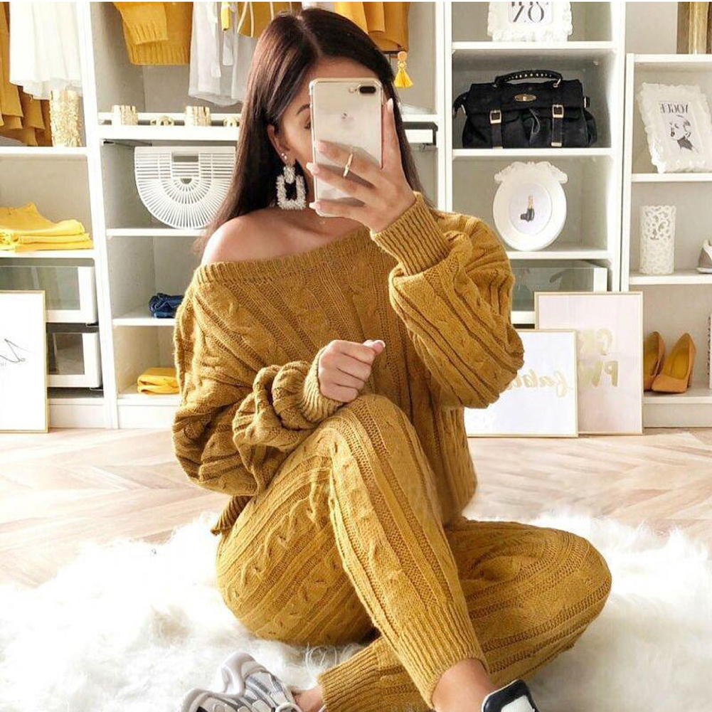 Autumn Women Sweater Set Ladies Warm Knitted Sets Solid Knitting Sweater And Long Pants Set Outfits Women Winter Loungewear