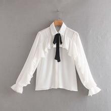 Chiffon Shirt Women Autumn Long White Casual Sweet Female Bow Shirts Ruffle Thin Loose Ladies Full Sleeve Slim Tops