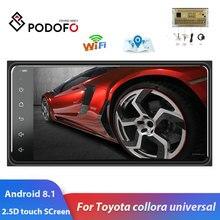 Podofo 2 din android 8.1 rádio gps carro multimídia player 2din universal para toyota vios coroa camry hiace previa corolla rav4
