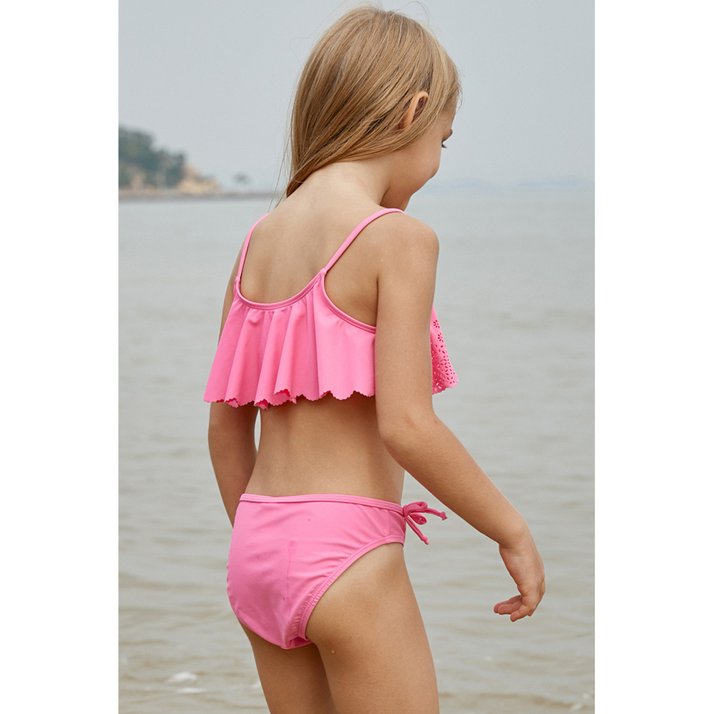 Europe And America CHILDREN'S Swimsuit Women's 2019 New Style Pink Printed Princess Style Girls Split Type Flounced Bathing Suit