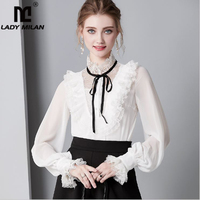 Women's Silk Blends Shirt Stand Collar Long Sleeves Lace Patchwork Ruffles Lace Up Elegant Casual Jumpsuit Blouse Tops
